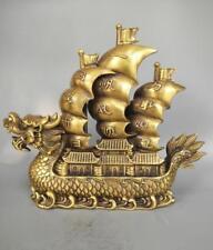 China pure brass Dragon boat crafts statue