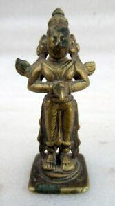 Antique Old Hand Carved Brass Hindu God Gurda Miniature Rich Patina Figurine