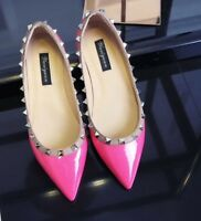 Mary Jane Ballerinas Flats with Studs Patent Leather Shoes Size 37 - 42