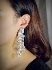 Rings`Ears CLIP ON Silver Long skull Tassel Fringe Crystal AS1