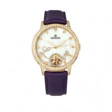 Empress Quinn Women's MOP Crystal Semi-Skeleton Purple Leather Watch EM2705