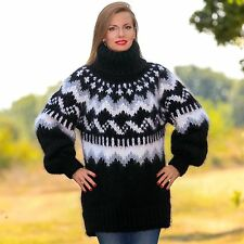 Black hand knitted Icelandic mohair sweater thick wool Nordic jumper SuperTanya