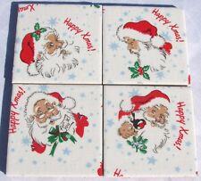 GORGEOUS CATH KIDSTON Set of 4 Ceramic Coasters 'HAPPY CHRISTMAS SANTA' WHITE