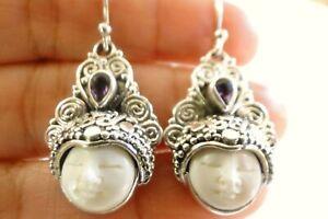Balinese Goddess Close Eyes Purple Amethyst 925 Sterling Silver Earrings