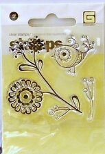 NEW BASIC GREY CLEAR STAMP FLOWER BIRD STA-1765 138
