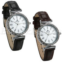 Women's Casual CZ Scale Slim Leather Strap Round Dial Quartz Analog Wrist Watch