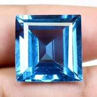 AAA Brazilian 24.95 Ct Natural Blue Topaz Square Loose Gemstone Certified FC401