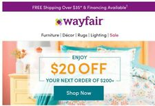 Wayfair.com $20 off $200+ Order On-line Coupon Exp 11/26