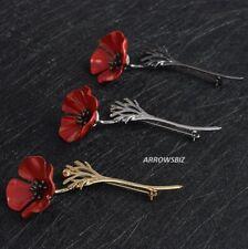 Red Poppy Flower & Stem Brooch Broach Pin Large Vintage Metal Alloy UK Seller