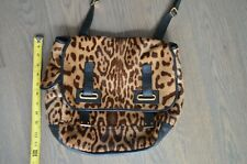 Vintage YSL Leopard Calf Hair and Black Leather Messenger Bag (Very Worn!)