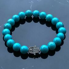 Tibetan Silver Hamza Hand and Blue Turquoise Natural Gemstone Beaded Bracelet