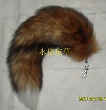 Fashion Sexy Fluffy Real Fox Tail Fur Leather Red White Tip Pelt Cosplay Toy