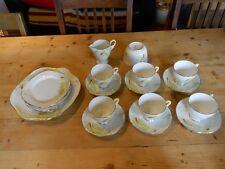 1950's Royal Stafford Bone China Tea Set Crocus Pattern 21 Pieces