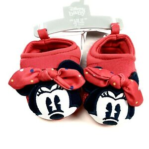 Disney Baby Red Bow Elastic Cross Strap Dots Minnie Mouse Swim Shoes 0-6 MO NEW
