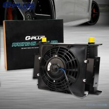 """30 Row  Universal Engine Transmission Oil Cooler+7"""" Fixed Cooling Fan Kit 10AN"""