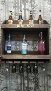 Wood bar/Home bar rack/Mug holder/Handmade/Bar shelf made of solid wood