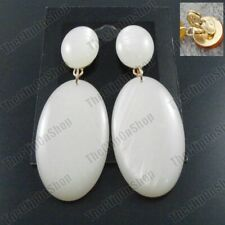 """2.75""""big CLIP ON gold tone RETRO white faux shell lucite EARRINGS TEARDROP"""