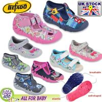 Befado girls boys kids canvas trainers shoes nursery baby slippers  2-12 UK new