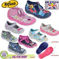 Befado girls boys kids canvas trainers shoes nursery baby slippers  2 - 12 UK