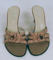 Franco Sarto Slip On Open Toe High Heel Beige Leather Sandals Women's Size 8.5M