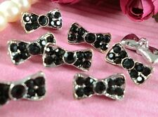 8 Sparkling 15mm  Black Glass Rhinestone Silver Metal Sewing Bow Buttons N069