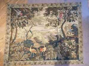 Antique GOBELINS Aubusson Beauvais style woven bordered Tapestry WALL HANGING
