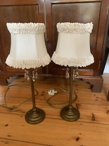 Pair Of Brass Laura Ashley Lamps With Shades
