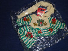 "New! Home Spun Traditions 8"" Bear Clothes Winter knit Sweater Scarf Hat"