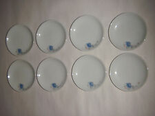 "VINTAGE SET OF 8 CHILTON TOYS CERAMIC 3.25"" LUNCH PLATES PORCELAIN W BLUE FLOWER"