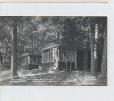 2 RPPC Cottages at Woodland Resort Plum Lake Sayner Wisconsin 1950's postcard