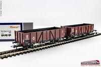 ROCO 76104 - H0 1:87 - Set doppio carro merci aperto tipo Wddo 52 PKP ep. III