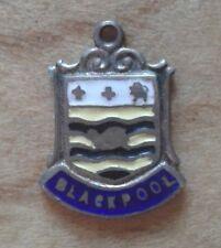 Blackpool, England  Vintage Sterling Silver & Enamel Shield Travel Charm