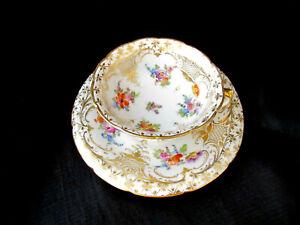 Antique Vtg Porcelain Dresden Germany Tea Cup & Saucer Set - Blue Crown Mark