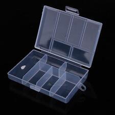 Plastic 6 Compartment Clear Jewelry Storage Box Small Case Craft Organizer Bead
