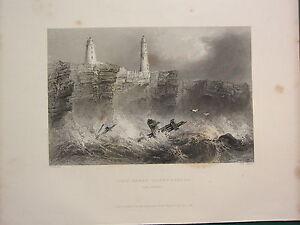 1841 Datato Antico Stampa ~ Ness Sands Fari Vicino Bristol