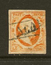 NETHERLANDS :1852 15c orange-yellow imperf SG 3b used