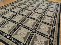 10x14 French Aubusson Needlepoint Geometric Area Rug Garden Floral Beige Black