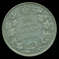 1929 Canada, King George V, Silver Fifty Cent Piece   F236
