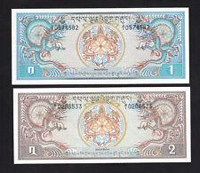 Set 2pcs Bhutan 1 & 2 Ngultrum (1981) P5 P6 UNC