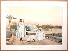 LA PRIÈRE À BISKRA Algérie - Photochromie fin 19ème Gravure