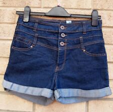 NEW LOOK HIGH WAISTED BLUE BUTTONED DENIM JEANS TURN UP HOT PANTS SHORTS 8