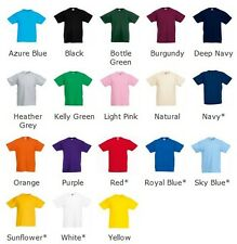 NEW KIDS GIRLS BOYS CHILDRENS COTTON PLAIN FRUIT OF THE LOOM T-SHIRT AGES 2-13