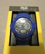 NEW Everlast Sport Men's Analog Digital Round Watch Blue Rubber Strap EVWF020NB