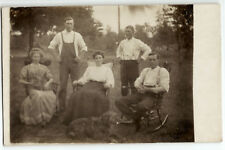 Wisconsin family in rocking chairs on lawn c. 1910, real photo postcard RPPC old