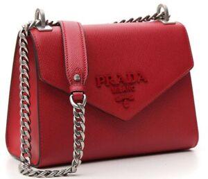 fiery red saffiano leather prada monochrome hand bag