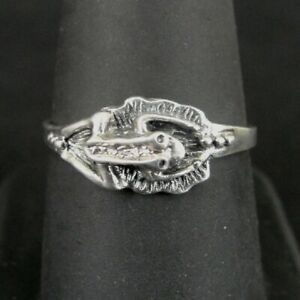 Ring Silver Frog on Lily Pad detailed Band Sterling 925 Size 8.75 Band Ring