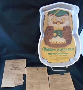 Vtg Mister Owl Graduation Cake Pan #502-7644-Orig Color Insert & Instructions-KH