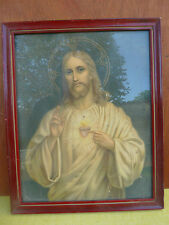 Ancien photographie religieuse et cadre rouge vitré religieux French antique