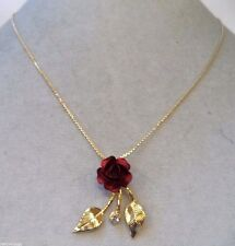 STUNNING VINTAGE ESTATE GOLD TONE RED ENAMEL ROSE FLOWER NECKLACE!!! WGA3213