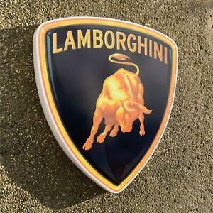LAMBORGHINI 1998-PRESENT BADGE LED ILLUMINATED WALL LIGHT SIGN GARAGE GAS & OIL